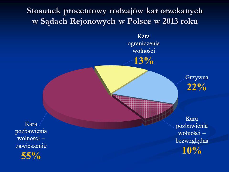 Stosunek procentowy rodzajów kar orzekanych w Sądach Rejonowych w Polsce w 2013 roku