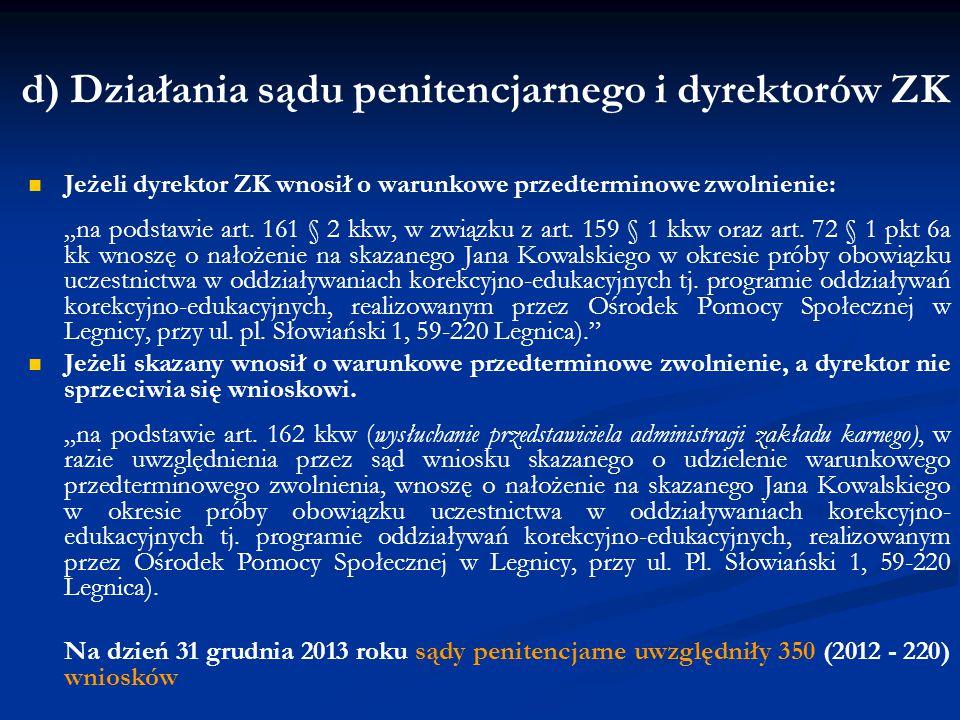 d) Działania sądu penitencjarnego i dyrektorów ZK