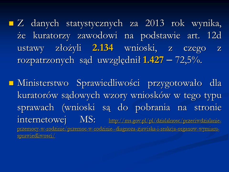 Z danych statystycznych za 2013 rok wynika, że kuratorzy zawodowi na podstawie art. 12d ustawy złożyli 2.134 wnioski, z czego z rozpatrzonych sąd uwzględnił 1.427 – 72,5%.