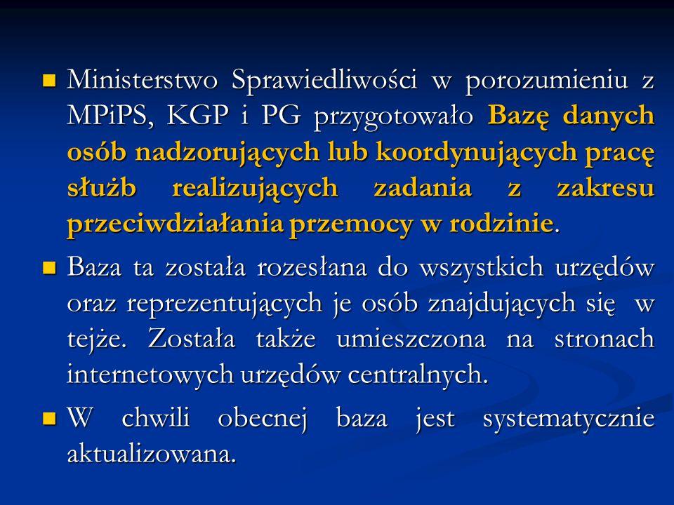 Ministerstwo Sprawiedliwości w porozumieniu z MPiPS, KGP i PG przygotowało Bazę danych osób nadzorujących lub koordynujących pracę służb realizujących zadania z zakresu przeciwdziałania przemocy w rodzinie.