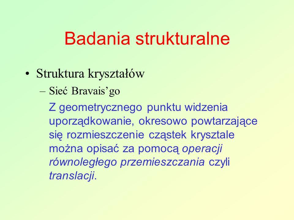 Badania strukturalne Struktura kryształów Sieć Bravais'go
