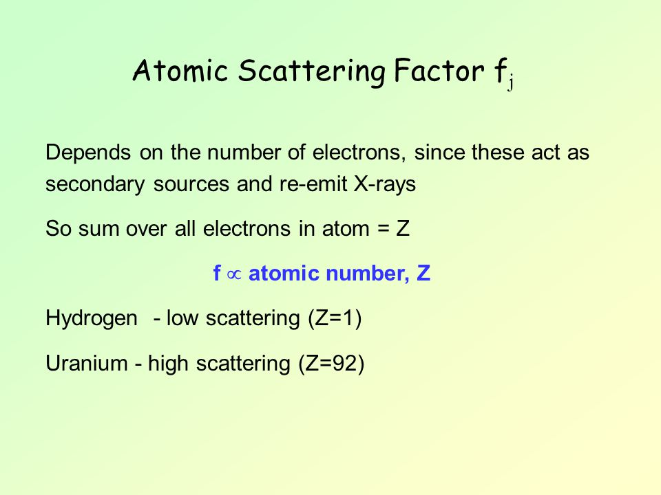 Atomic Scattering Factor fj