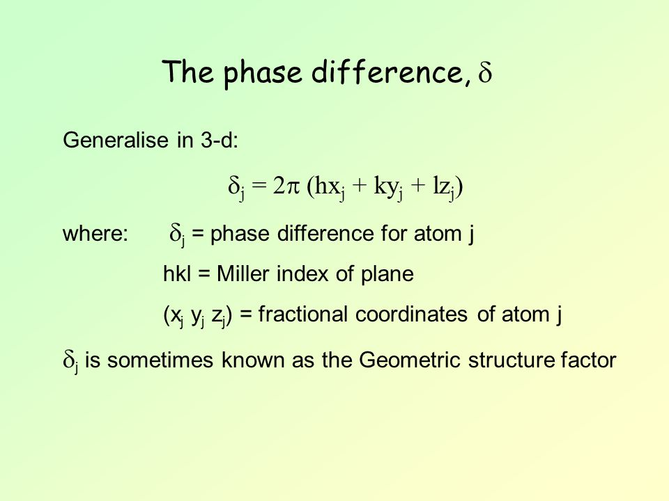 The phase difference,  j = 2 (hxj + kyj + lzj)