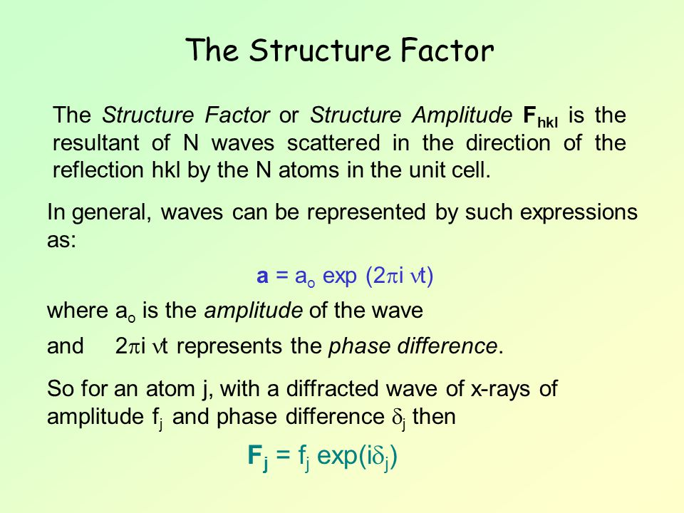 The Structure Factor Fj = fj exp(ij)