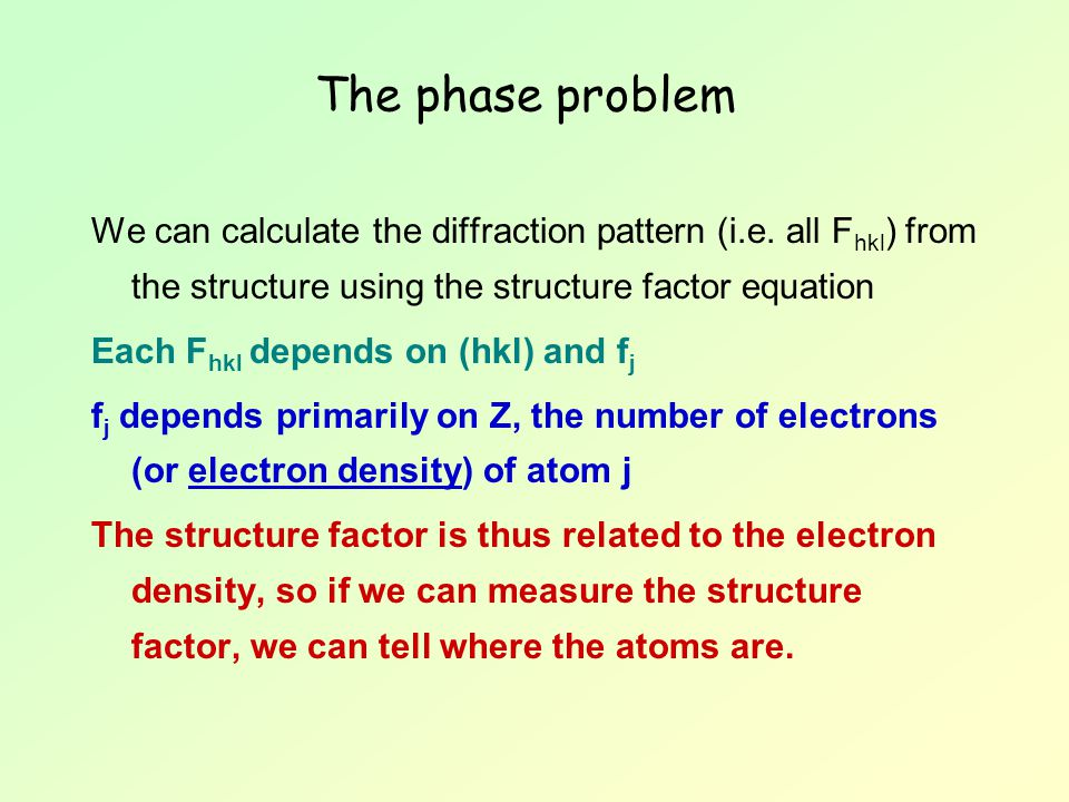The phase problem We can calculate the diffraction pattern (i.e. all Fhkl) from the structure using the structure factor equation.