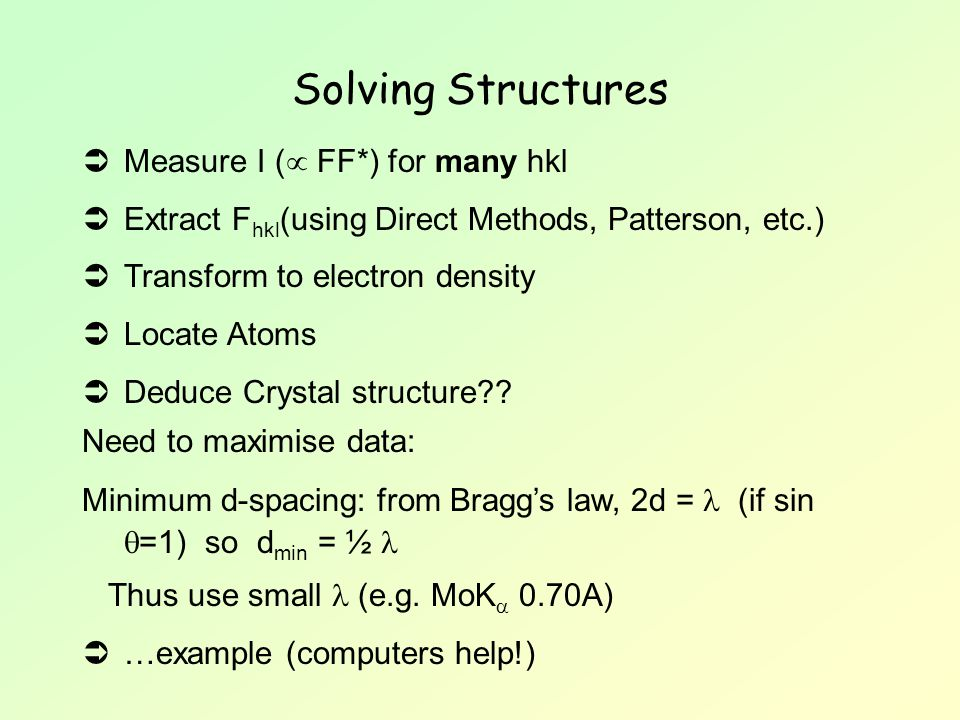Solving Structures Measure I ( FF*) for many hkl