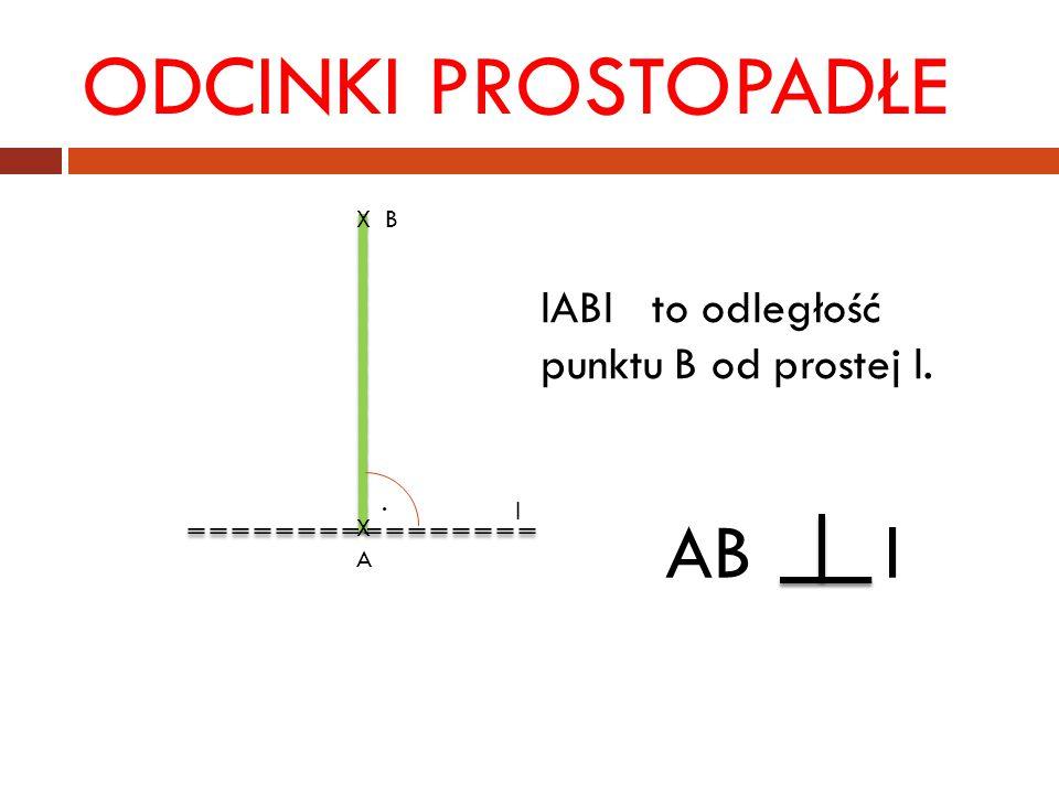 ODCINKI PROSTOPADŁE AB l lABl to odległość punktu B od prostej l. X B