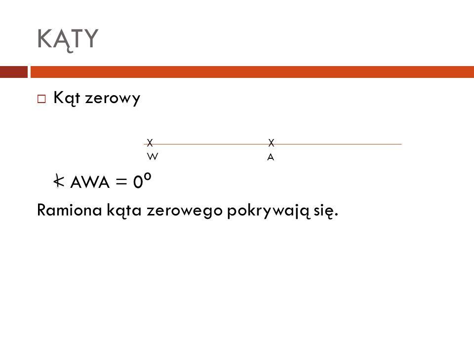KĄTY Kąt zerowy < AWA = 0º Ramiona kąta zerowego pokrywają się. X X