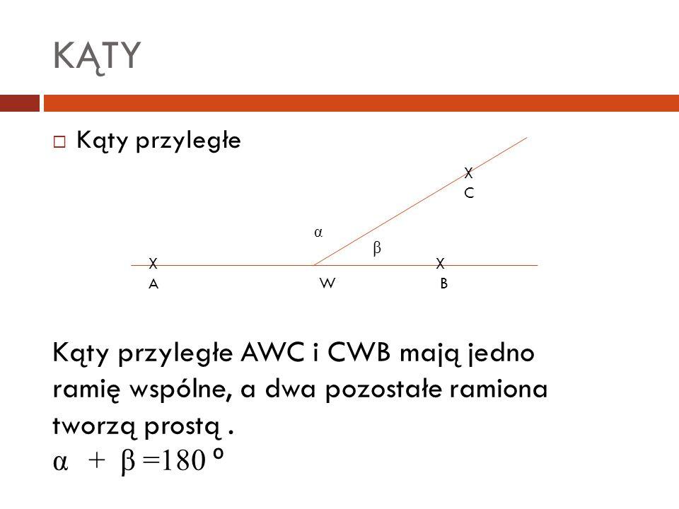 KĄTY Kąty przyległe. X. C. α. β. X X.