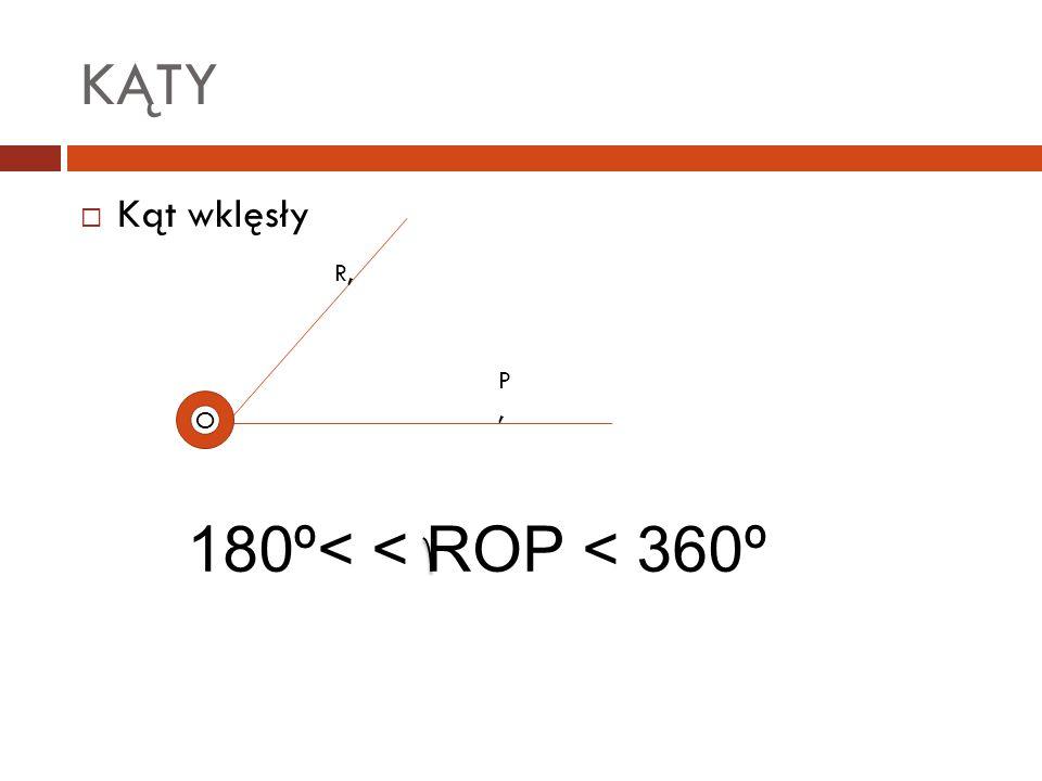 KĄTY Kąt wklęsły R, P , O 180º< < ROP < 360º