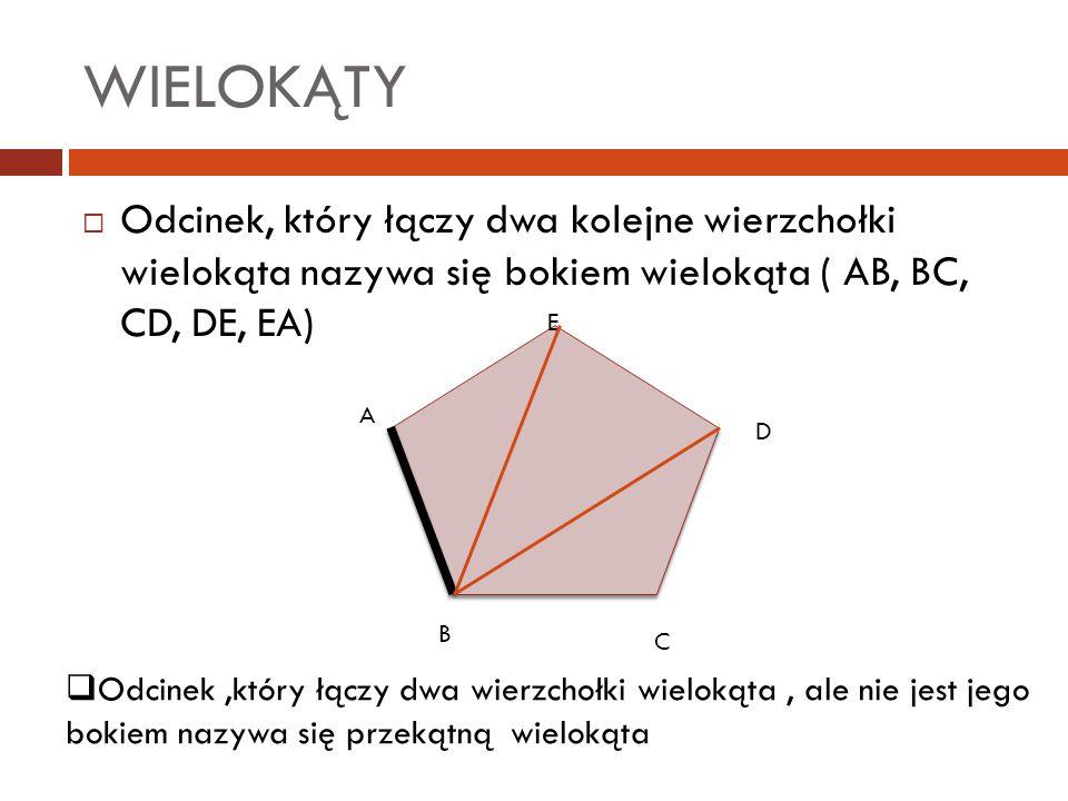WIELOKĄTY Odcinek, który łączy dwa kolejne wierzchołki wielokąta nazywa się bokiem wielokąta ( AB, BC, CD, DE, EA)