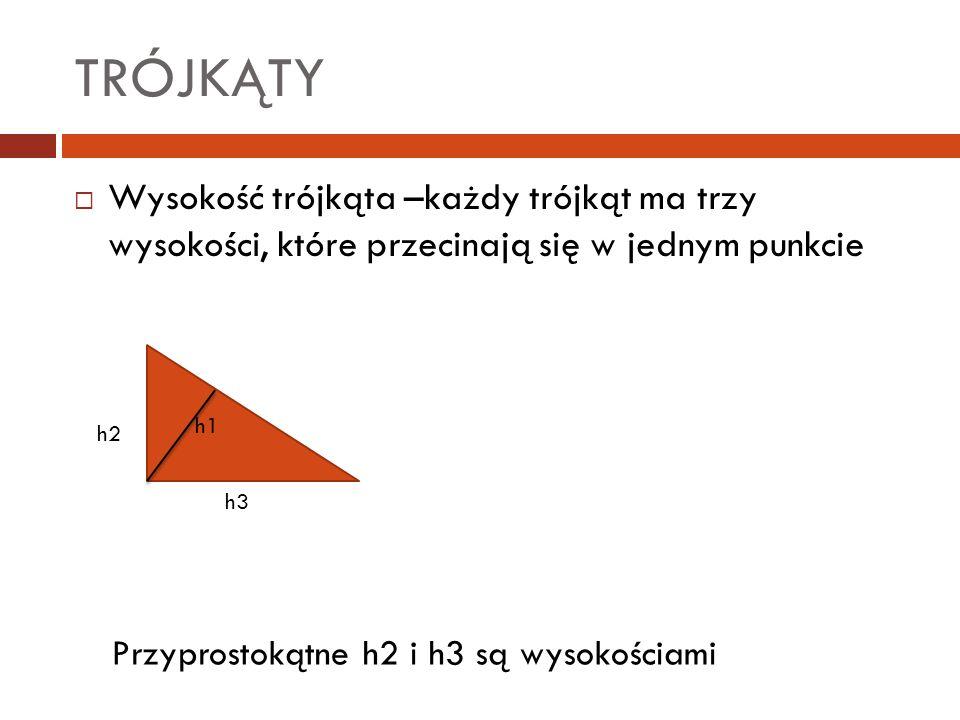 TRÓJKĄTY Wysokość trójkąta –każdy trójkąt ma trzy wysokości, które przecinają się w jednym punkcie.