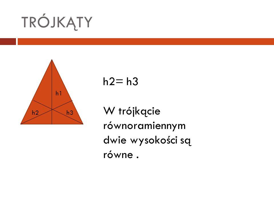 TRÓJKĄTY h2= h3 W trójkącie równoramiennym dwie wysokości są równe .