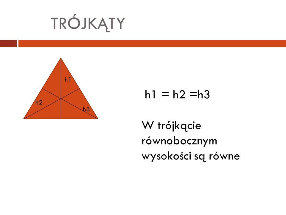 TRÓJKĄTY h1 = h2 =h3 W trójkącie równobocznym wysokości są równe h1 h2