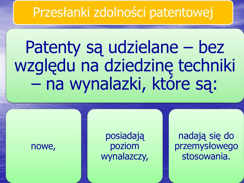 Przesłanki zdolności patentowej