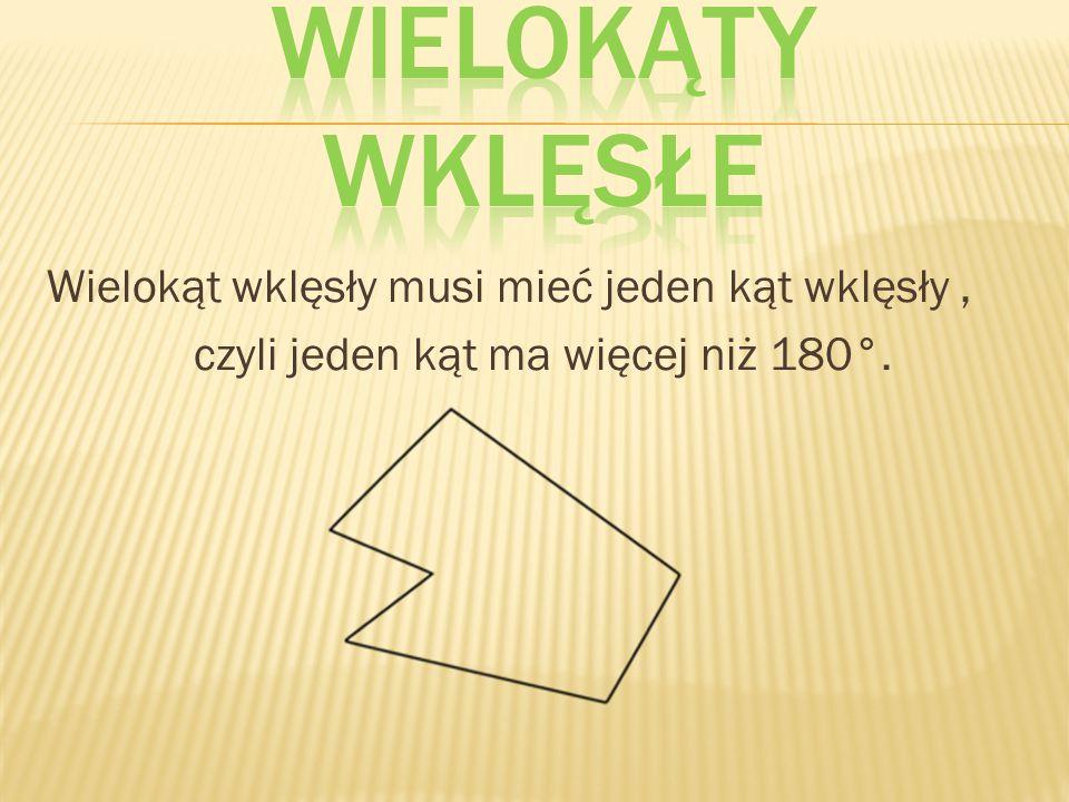 Wielokąty wklęsłe Wielokąt wklęsły musi mieć jeden kąt wklęsły , czyli jeden kąt ma więcej niż 180°.