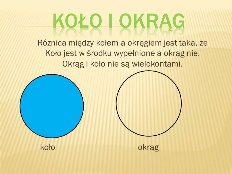 Koło i okrąg Różnica między kołem a okręgiem jest taka, że Koło jest w środku wypełnione a okrąg nie.
