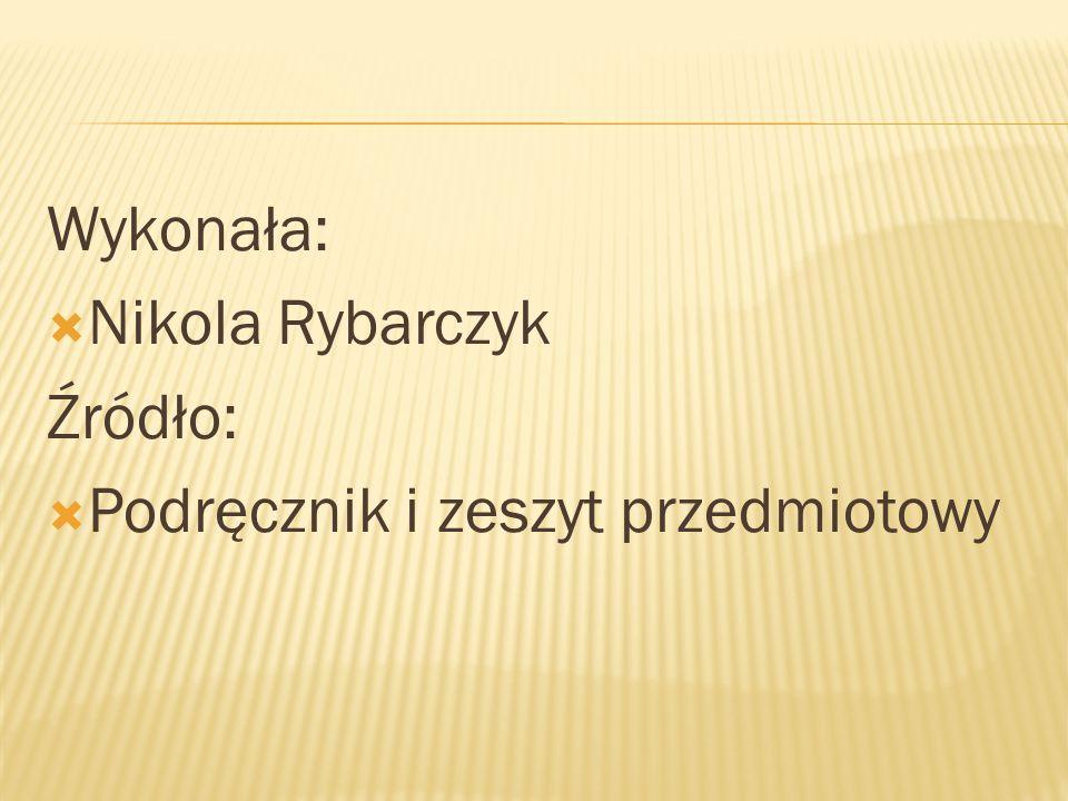 Wykonała: Nikola Rybarczyk Źródło: Podręcznik i zeszyt przedmiotowy