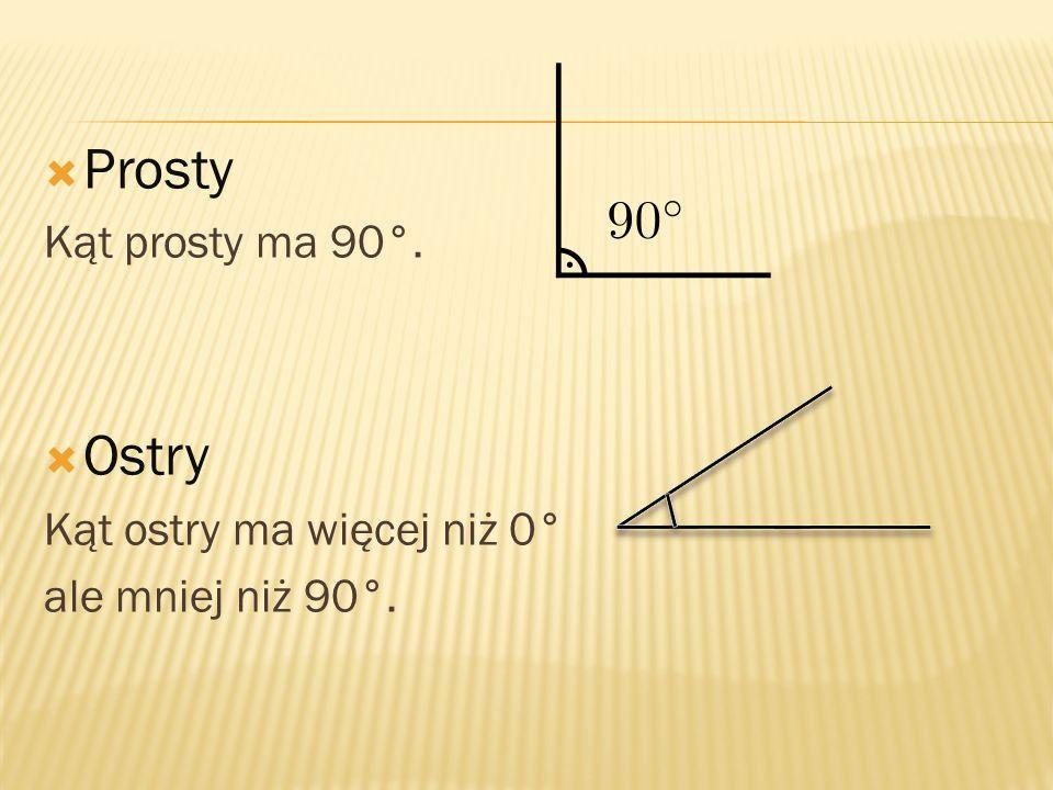 Prosty Ostry Kąt prosty ma 90°. Kąt ostry ma więcej niż 0°