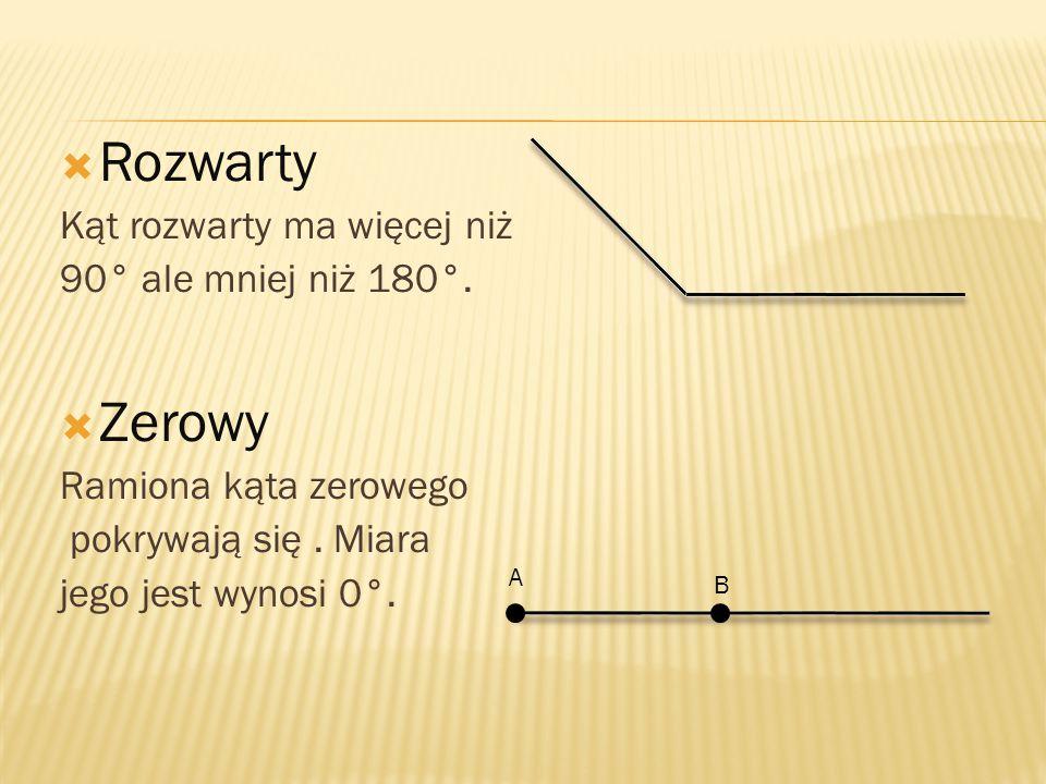 Rozwarty Zerowy Kąt rozwarty ma więcej niż 90° ale mniej niż 180°.