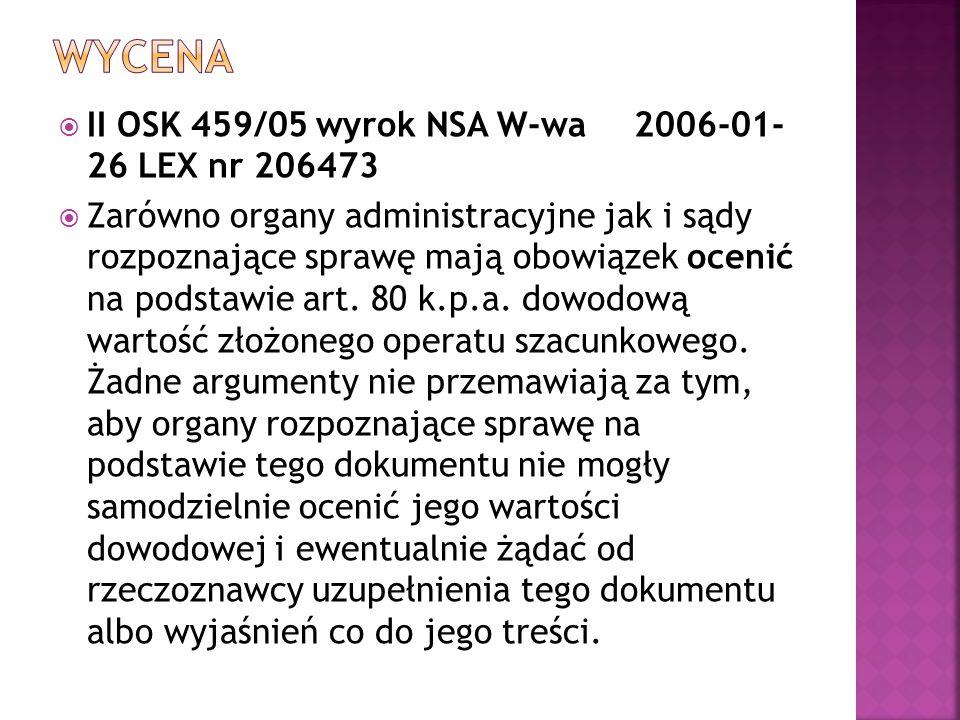 wycena II OSK 459/05 wyrok NSA W-wa 2006-01- 26 LEX nr 206473