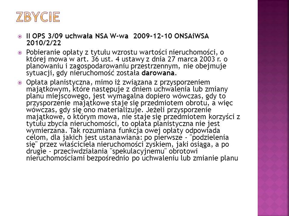 zbycie II OPS 3/09 uchwała NSA W-wa 2009-12-10 ONSAiWSA 2010/2/22