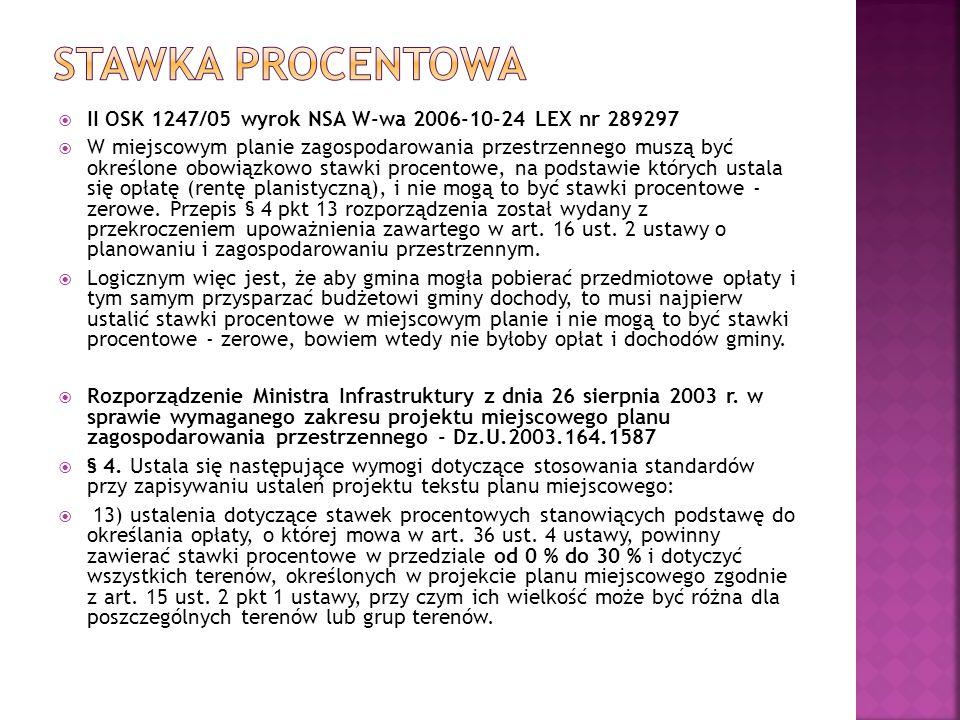 Stawka procentowa II OSK 1247/05 wyrok NSA W-wa 2006-10-24 LEX nr 289297.