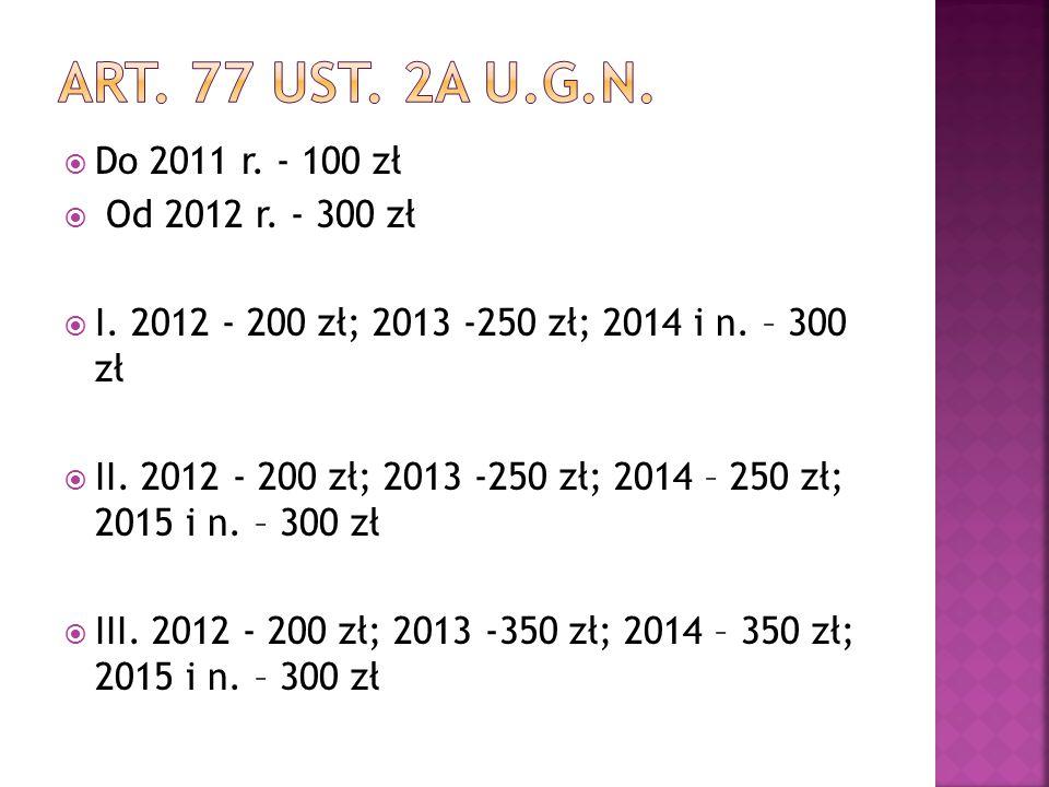 Art. 77 ust. 2A u.g.n. Do 2011 r. - 100 zł Od 2012 r. - 300 zł
