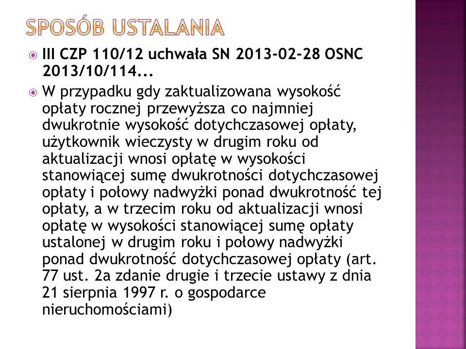 Sposób ustalania III CZP 110/12 uchwała SN 2013-02-28 OSNC 2013/10/114...