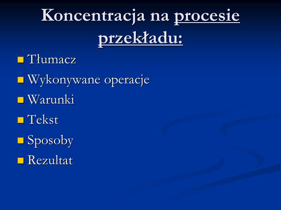 Koncentracja na procesie przekładu: