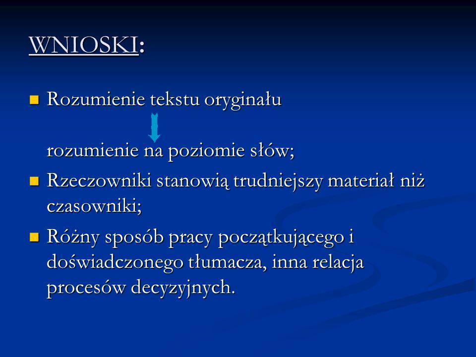 WNIOSKI: Rozumienie tekstu oryginału rozumienie na poziomie słów;