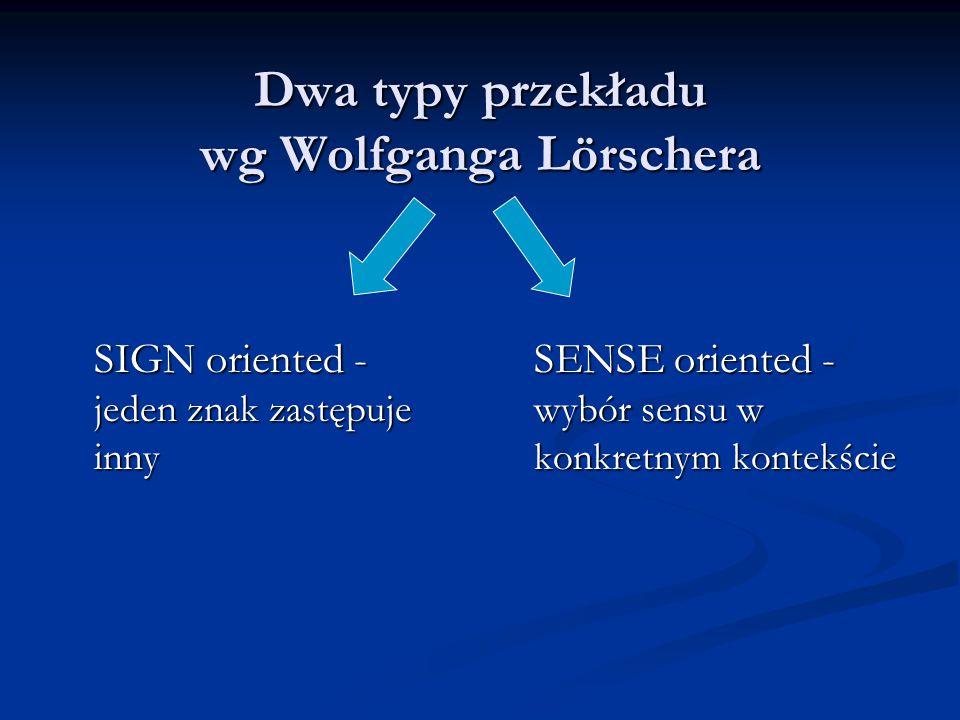 Dwa typy przekładu wg Wolfganga Lörschera