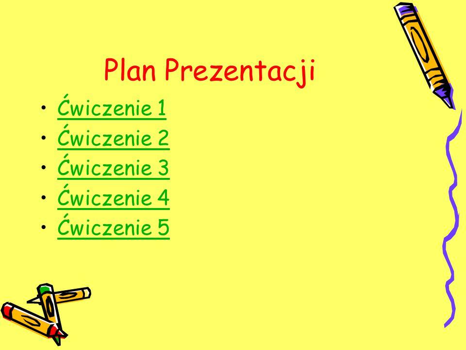 Plan Prezentacji Ćwiczenie 1 Ćwiczenie 2 Ćwiczenie 3 Ćwiczenie 4
