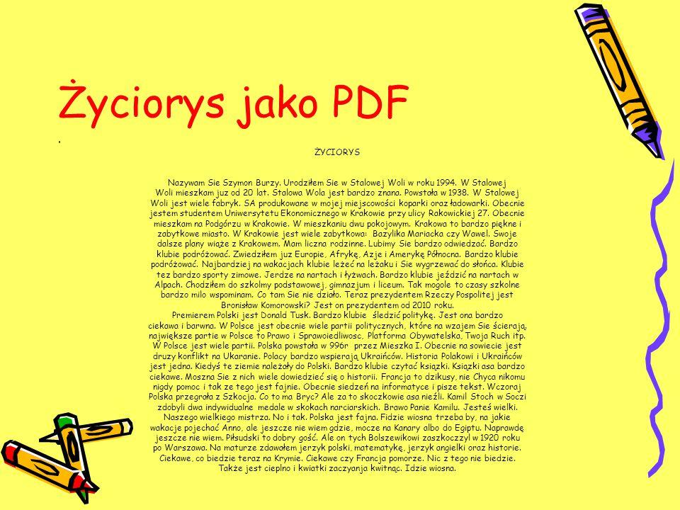 Życiorys jako PDF ŻYCIORYS