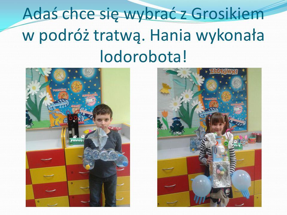 Adaś chce się wybrać z Grosikiem w podróż tratwą