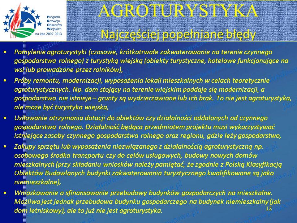 AGROTURYSTYKA Najczęściej popełniane błędy