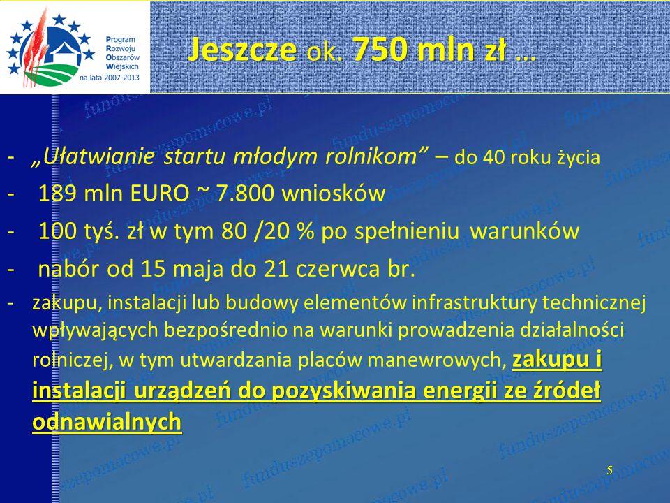 """Jeszcze ok. 750 mln zł … """"Ułatwianie startu młodym rolnikom – do 40 roku życia. 189 mln EURO ~ 7.800 wniosków."""