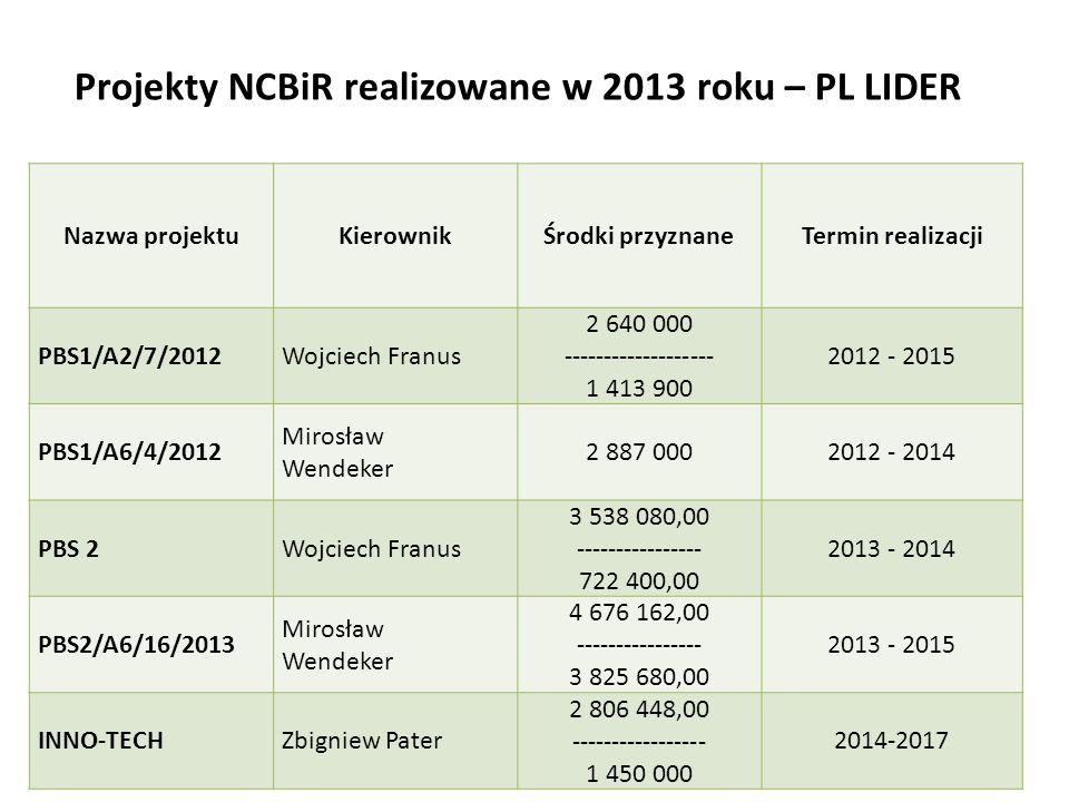 Projekty NCBiR realizowane w 2013 roku – PL LIDER