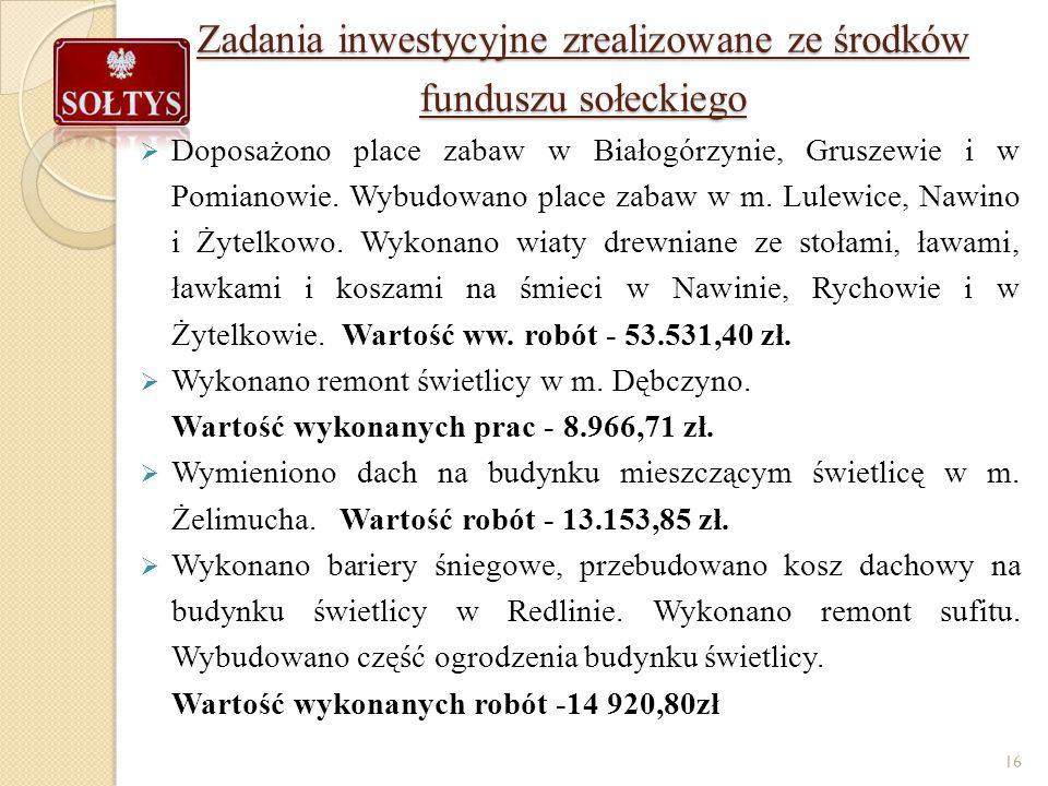 Zadania inwestycyjne zrealizowane ze środków funduszu sołeckiego