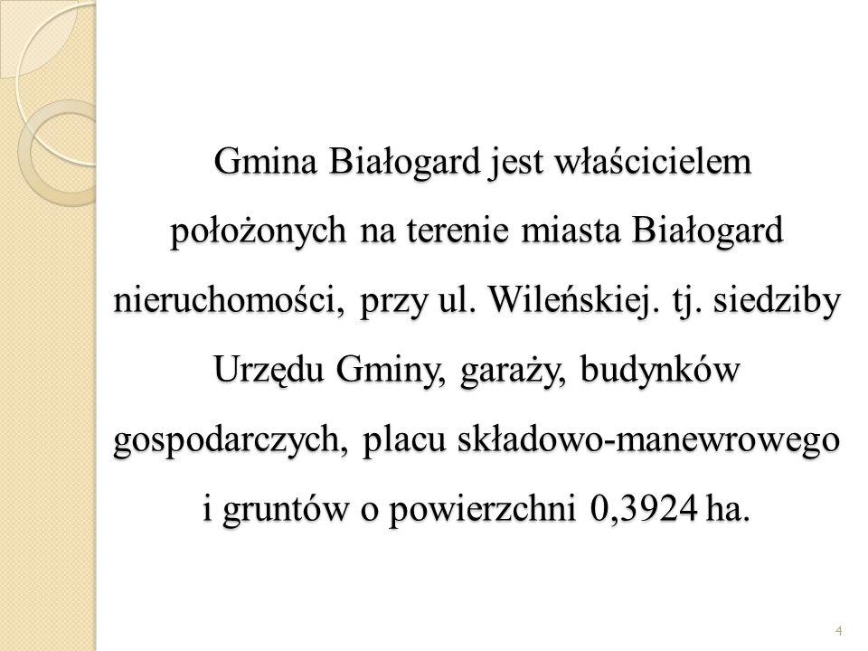 Gmina Białogard jest właścicielem położonych na terenie miasta Białogard nieruchomości, przy ul.