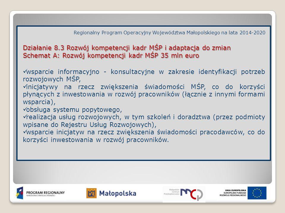 Działanie 8.3 Rozwój kompetencji kadr MŚP i adaptacja do zmian