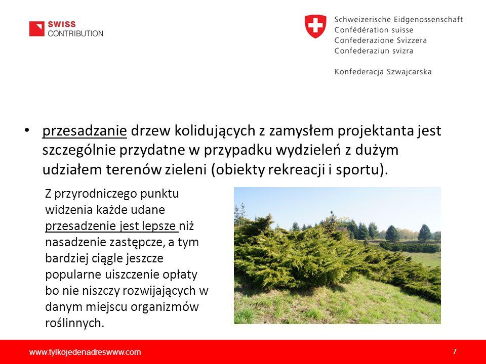 przesadzanie drzew kolidujących z zamysłem projektanta jest szczególnie przydatne w przypadku wydzieleń z dużym udziałem terenów zieleni (obiekty rekreacji i sportu).