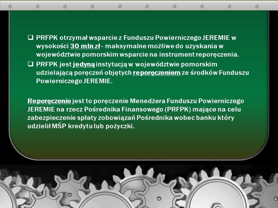 PRFPK otrzymał wsparcie z Funduszu Powierniczego JEREMIE w wysokości 30 mln zł - maksymalne możliwe do uzyskania w województwie pomorskim wsparcie na instrument reporęczenia.
