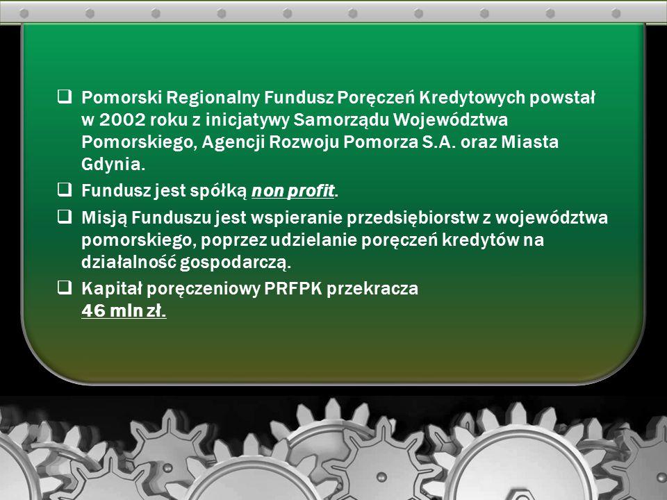 Pomorski Regionalny Fundusz Poręczeń Kredytowych powstał w 2002 roku z inicjatywy Samorządu Województwa Pomorskiego, Agencji Rozwoju Pomorza S.A. oraz Miasta Gdynia.