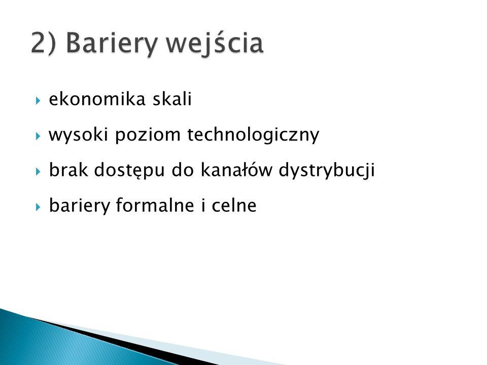 2) Bariery wejścia ekonomika skali wysoki poziom technologiczny
