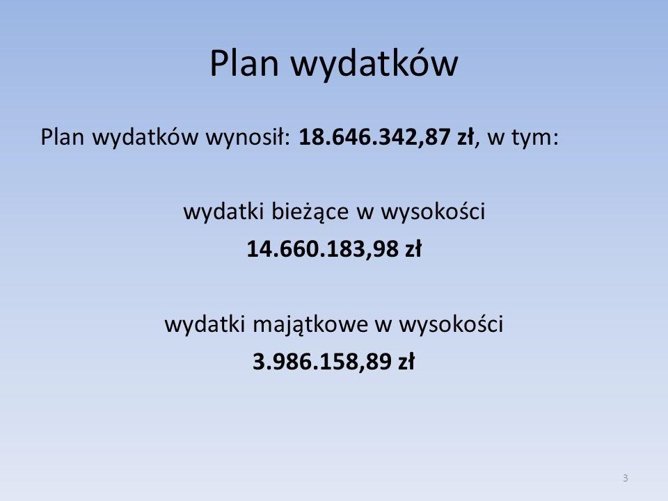 Plan wydatków Plan wydatków wynosił: 18.646.342,87 zł, w tym: