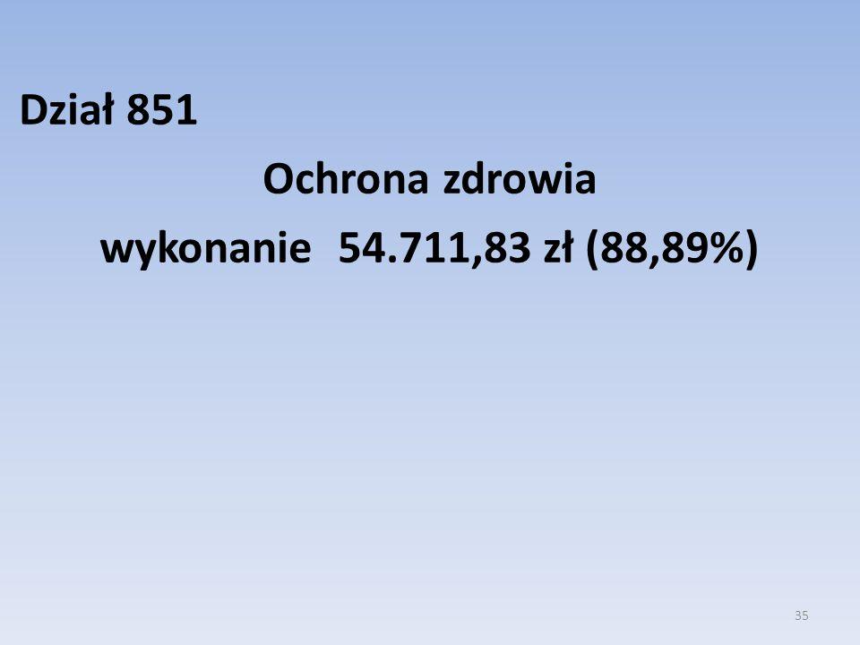 Dział 851 Ochrona zdrowia wykonanie 54.711,83 zł (88,89%)
