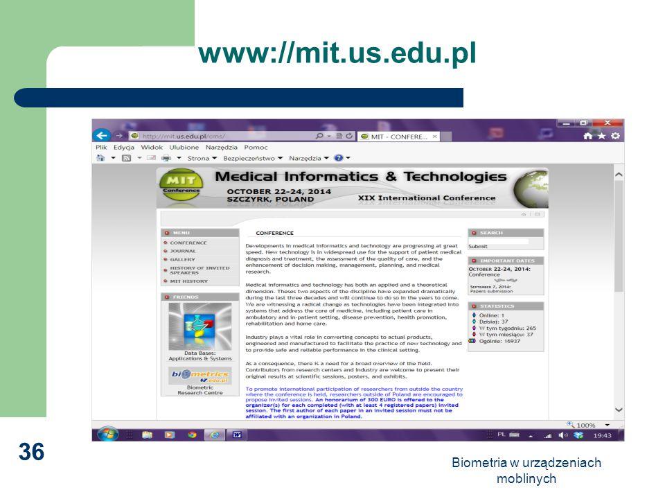 Biometria w urządzeniach moblinych