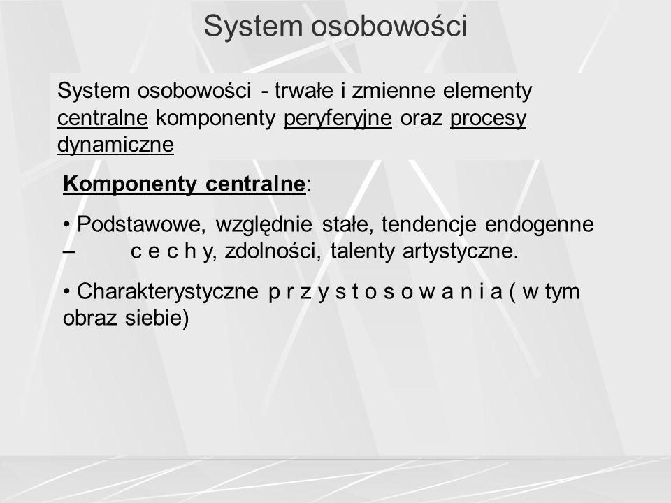 System osobowości System osobowości - trwałe i zmienne elementy centralne komponenty peryferyjne oraz procesy dynamiczne.