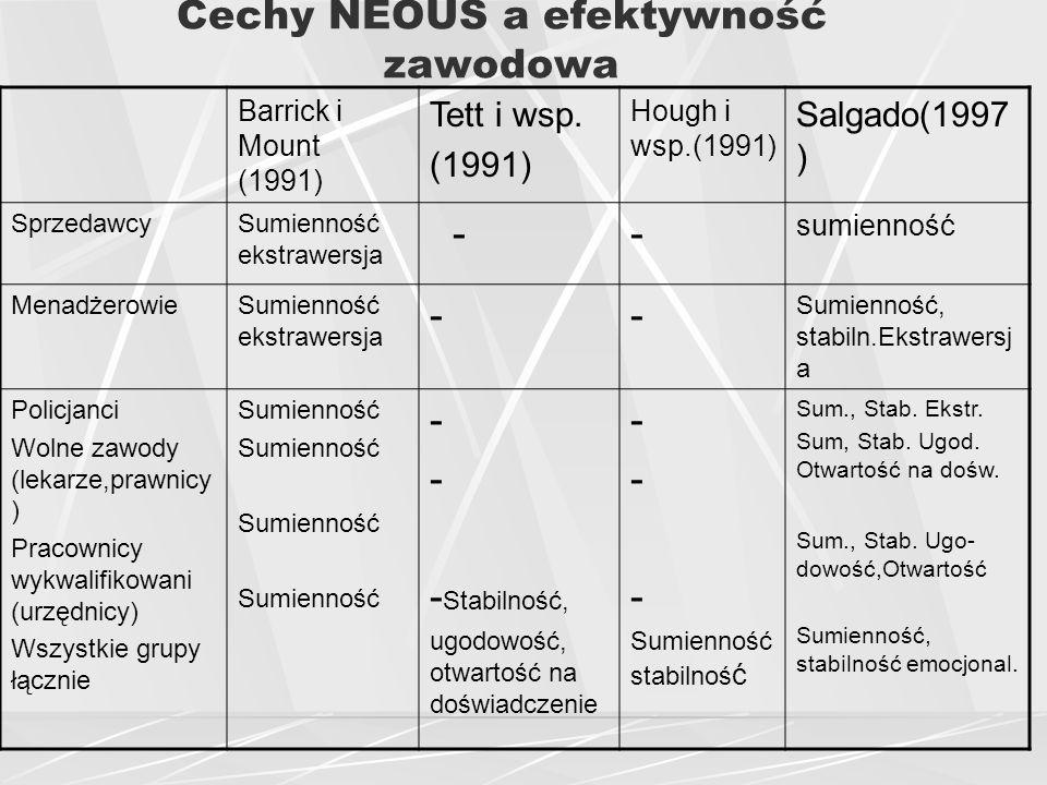 Cechy NEOUS a efektywność zawodowa